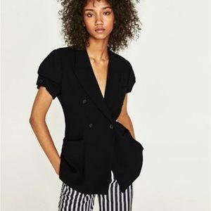 Zara Woman Black Short Sleeve Blazer Blouse